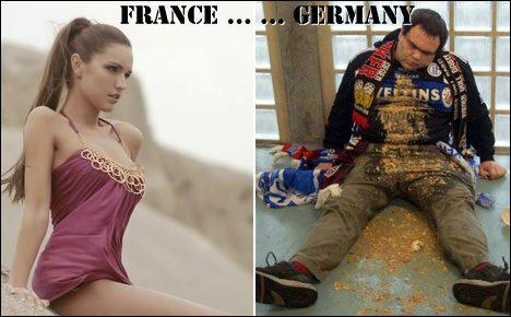 French beach fan vs German football fan.