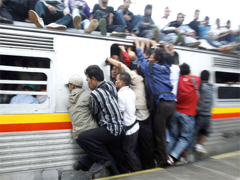 Overcrowded train in China