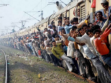 Overcrowded Public Transport Crowded train in India