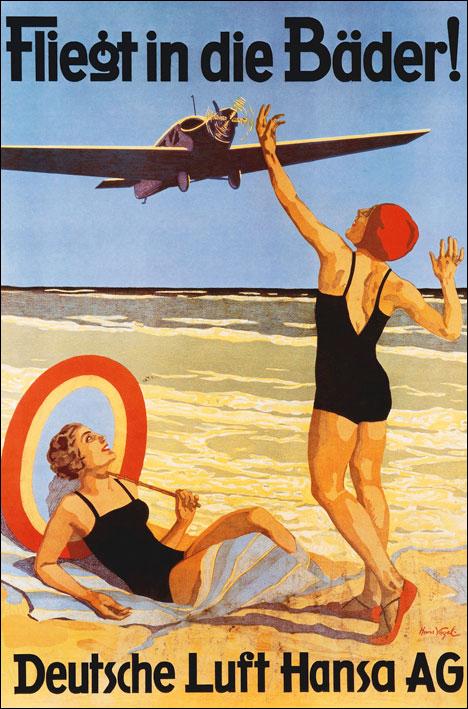 Vintage tourist poster Lufthansa Germany